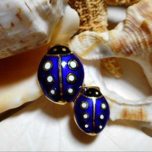 18k 3D Guilloché Enamel Ladybug Brooch Pin 6.27g